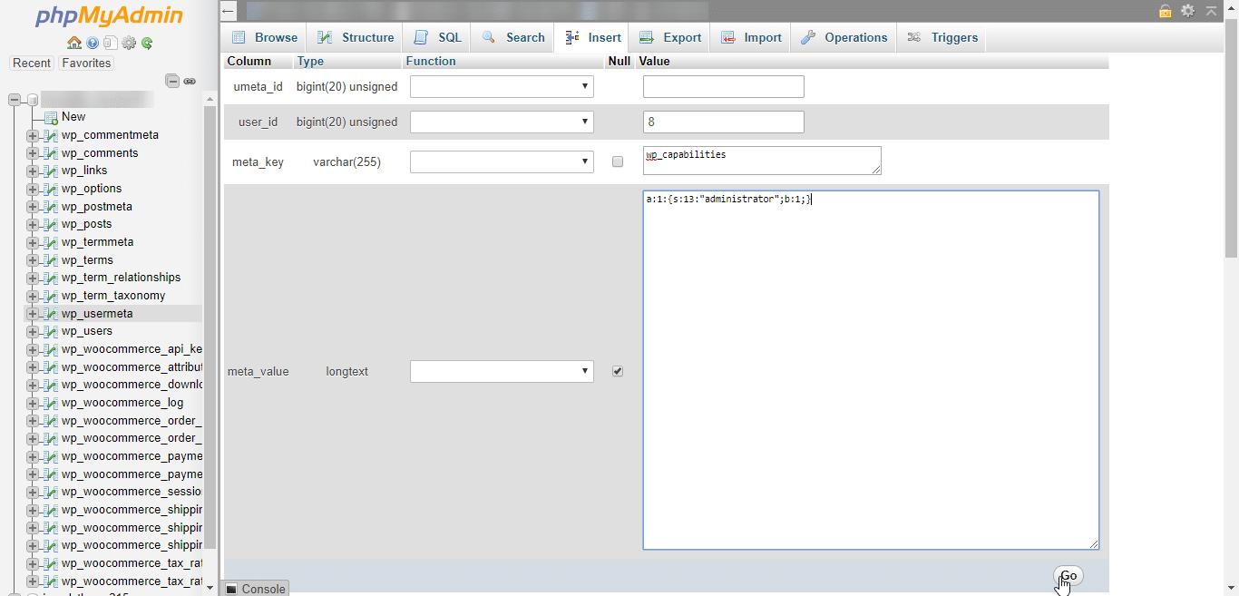 Permissões de administrador em wp_usermeta