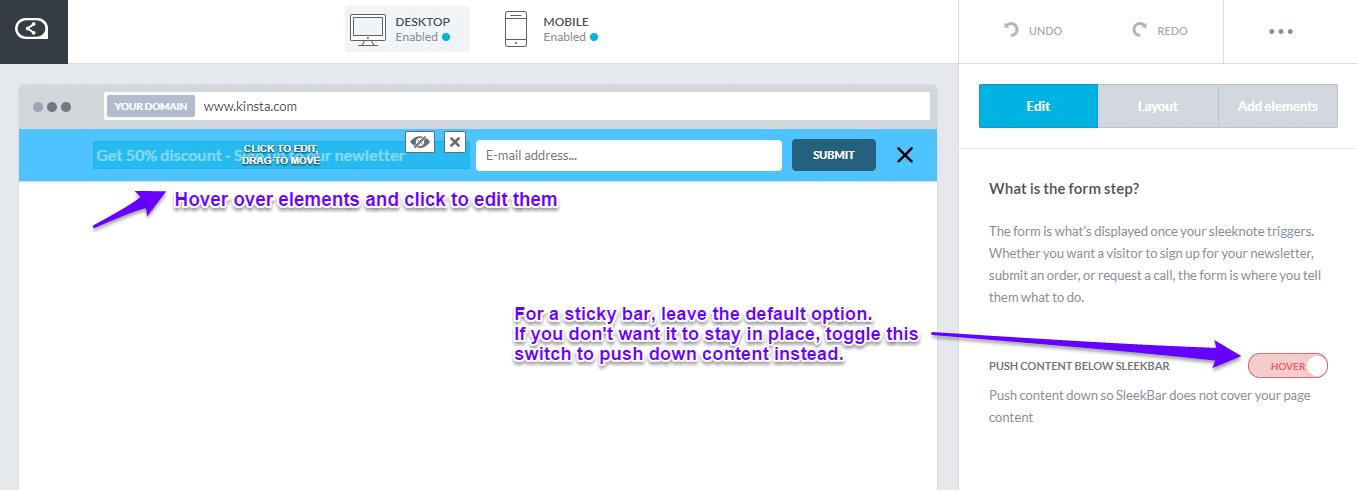 Sleeknote personalizar barra flutuante
