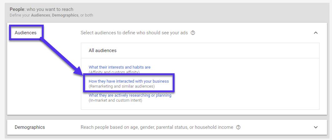 Anúncios do Google para remarketing e públicos similares