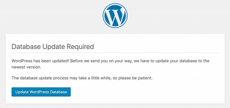 Atualização do banco de dados do WordPress 5.0 necessária