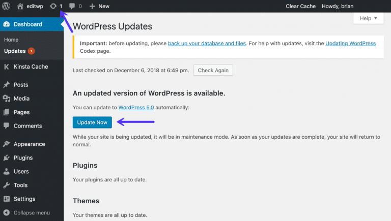 Atualizar para o WordPress 5.0