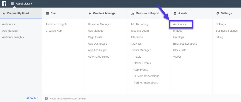 Audiência no Facebook em Ad Manager