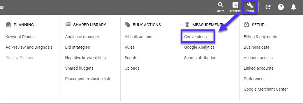 Conversões de anúncios do Google