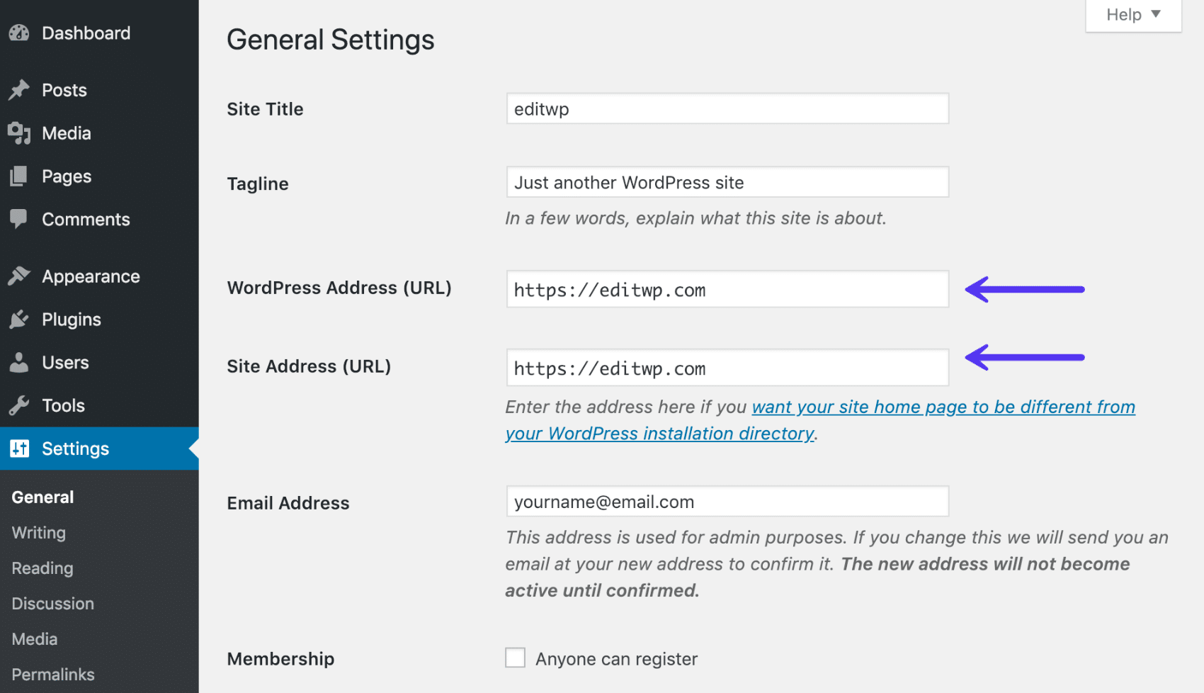 Endereço do WordPress e endereço do site