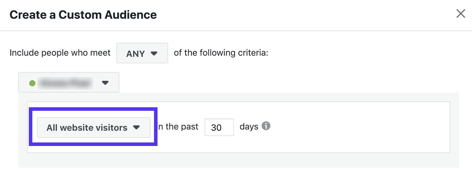 Facebook retargeting audiência - últimos 30 dias