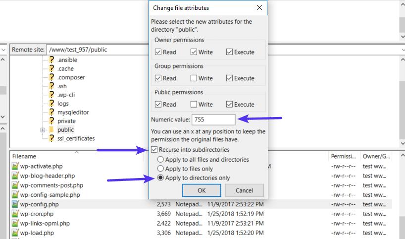 Permissões de arquivos para diretórios do WordPress