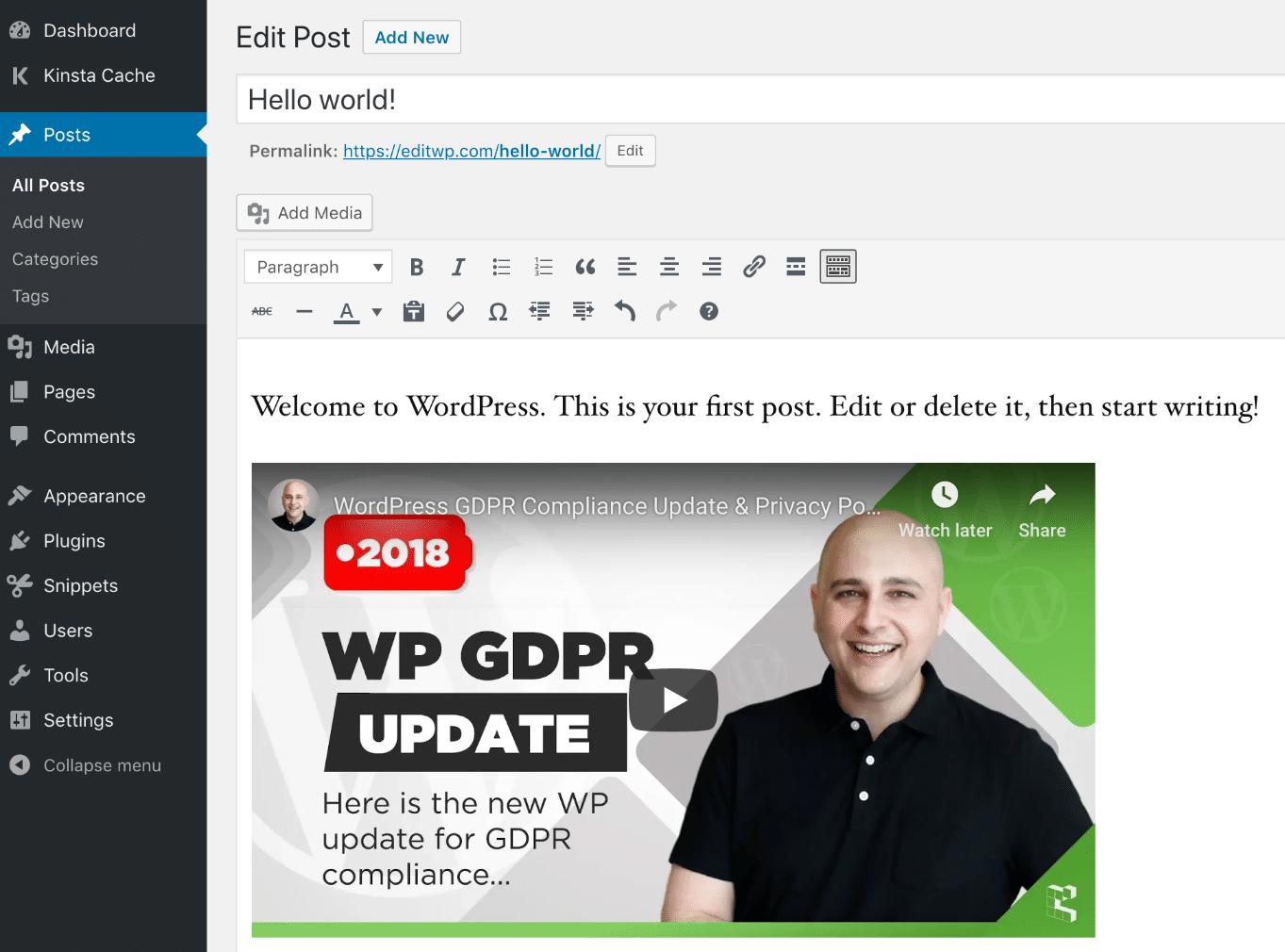 Incorporar vídeo do YouTube no editor WordPress