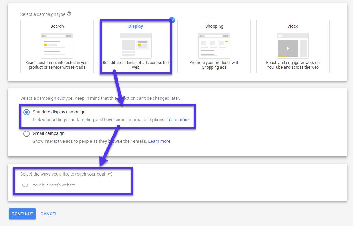 Subtipo da campanha de exibição de anúncios do Google