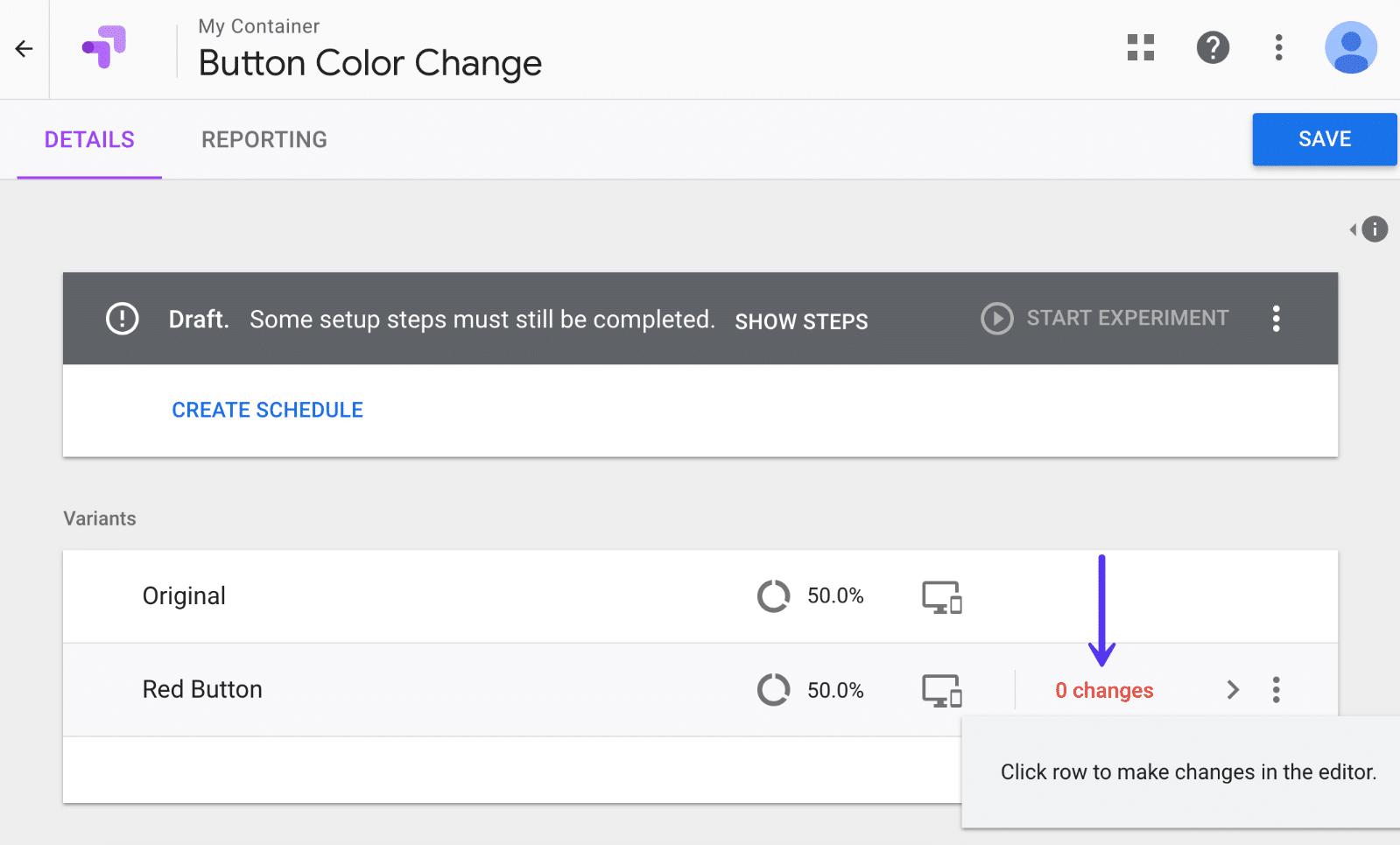 Alterações da variável no Google Optimize