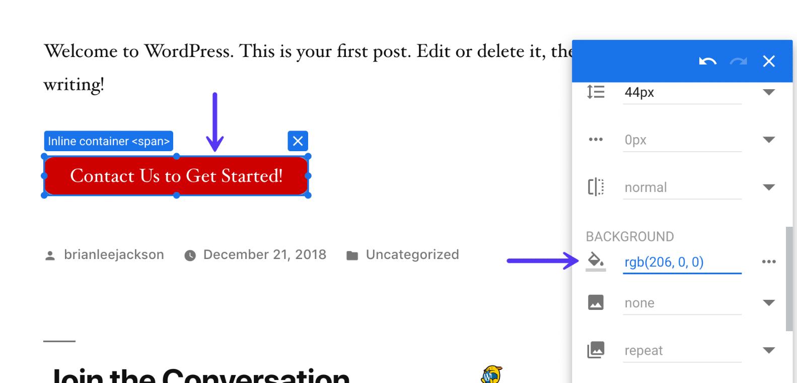 Alterar cor do botão no Google Optimize