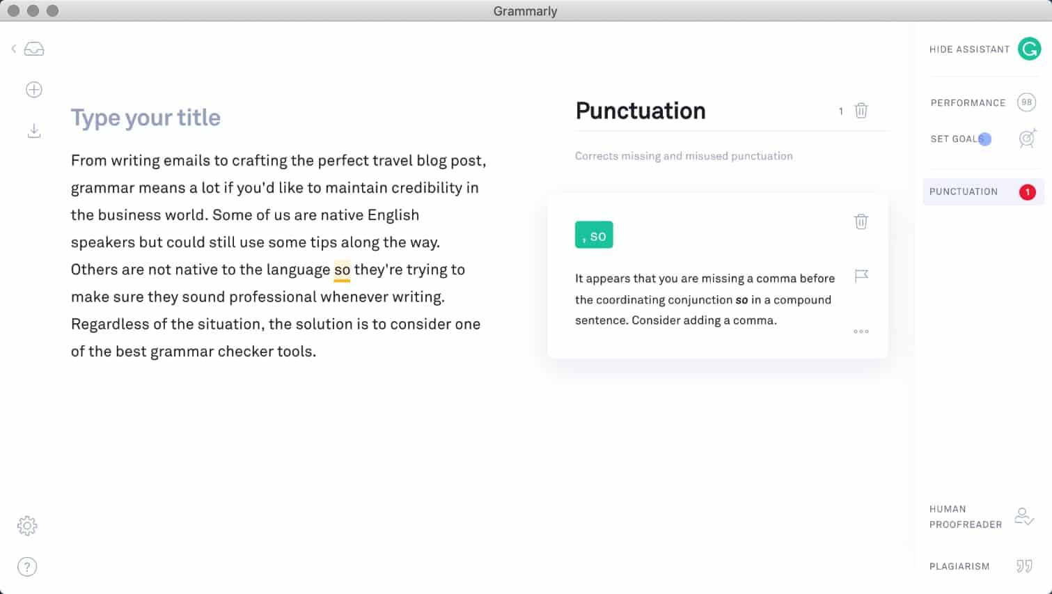 Aplicativo Grammarly para Mac