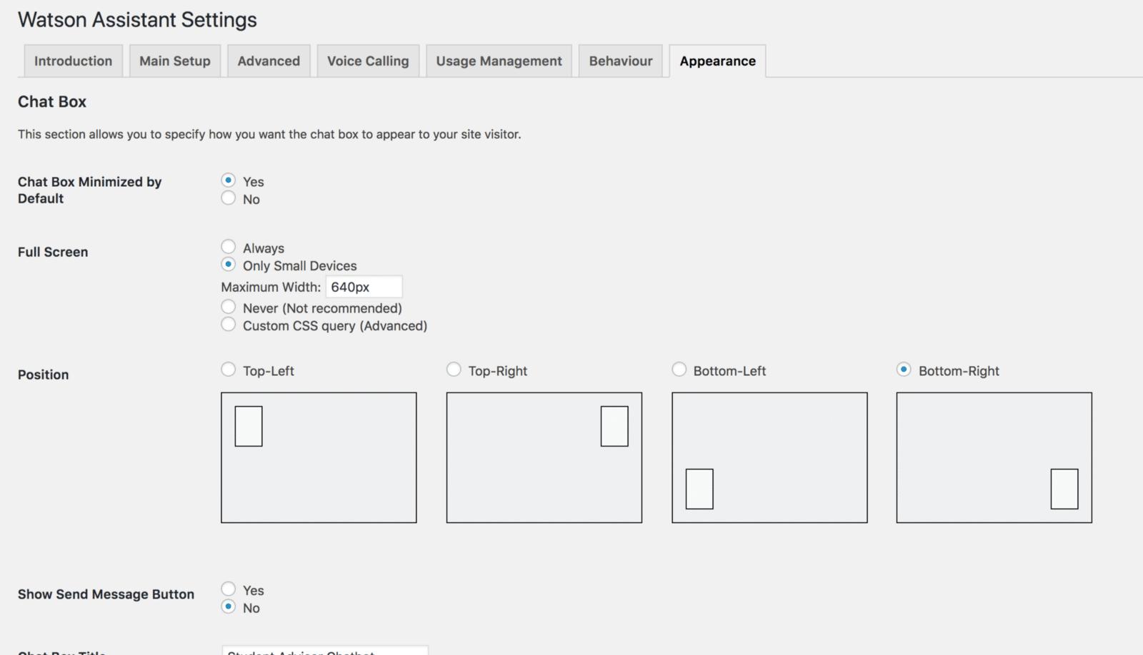 Configurações do IBM Watson no WordPress