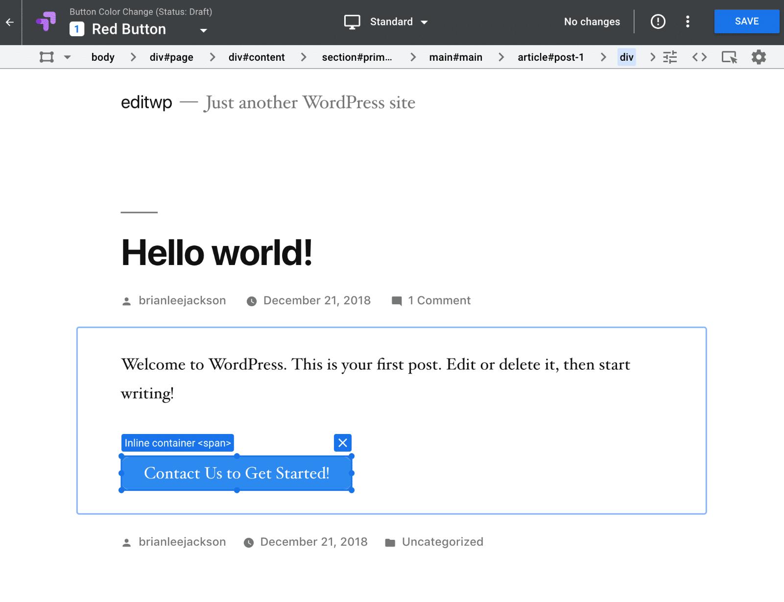 Editor do Google Optimize