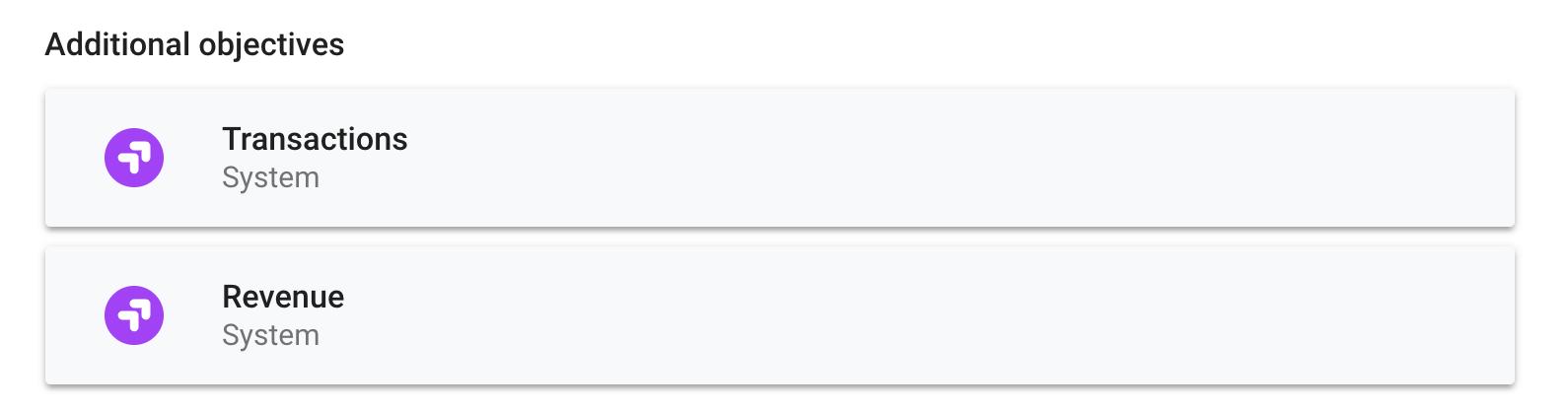 Objetivos de e-commerce no Google Optimize