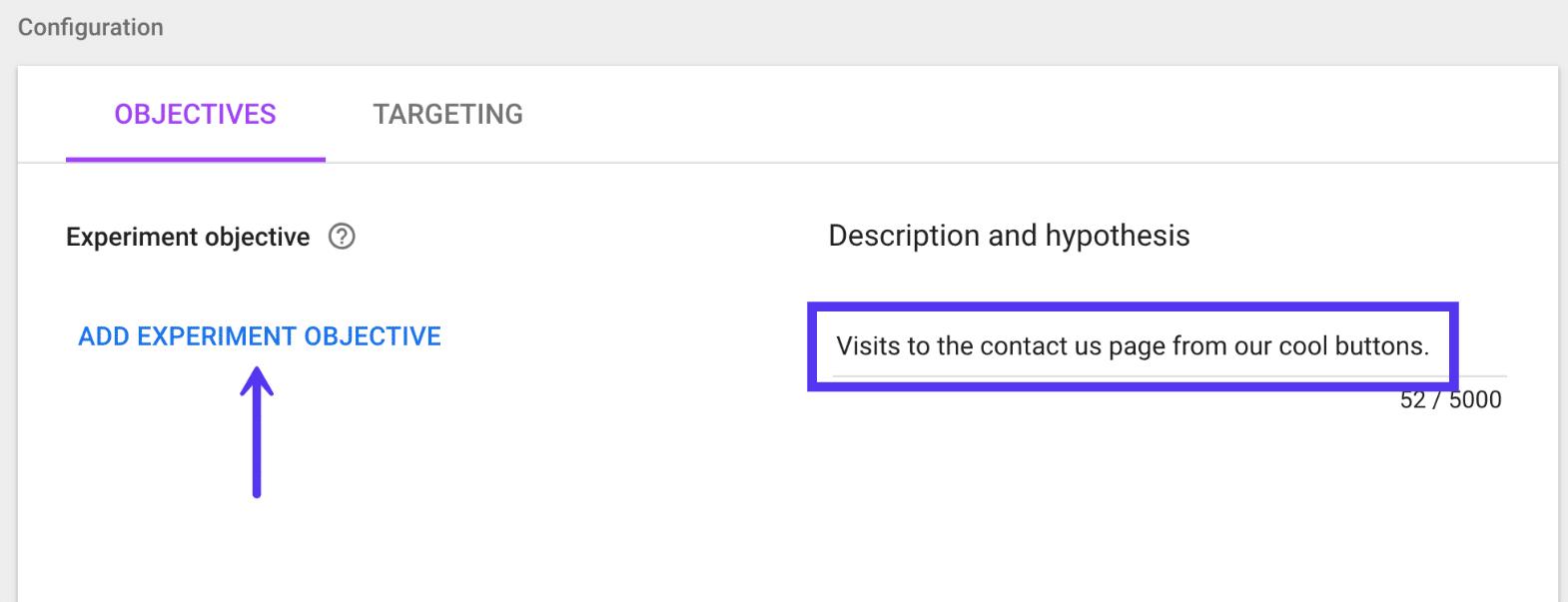 Objetivo do experimento no Google Optimize