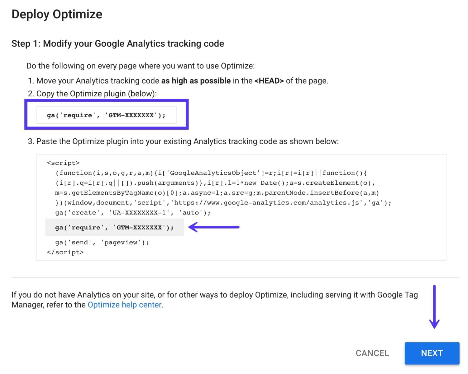 Código de implementação do Optimize