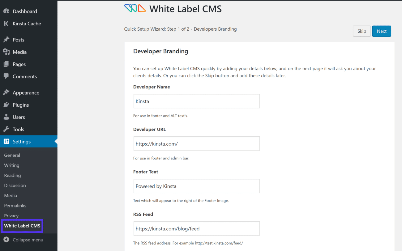 Assistente de configuração do White Label CMS