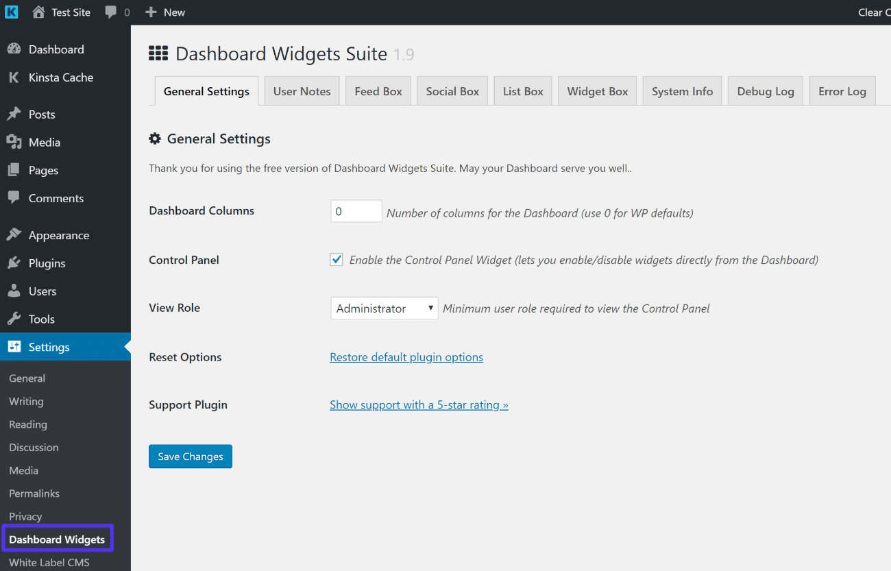 Configurações do Dashboard Widgets Suite
