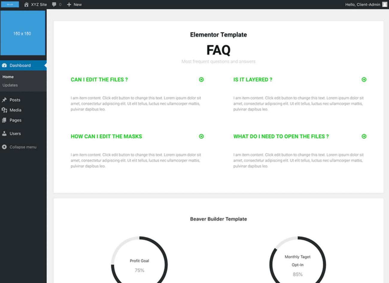 Exemplo de um painel personalizado construído com White Label CMS