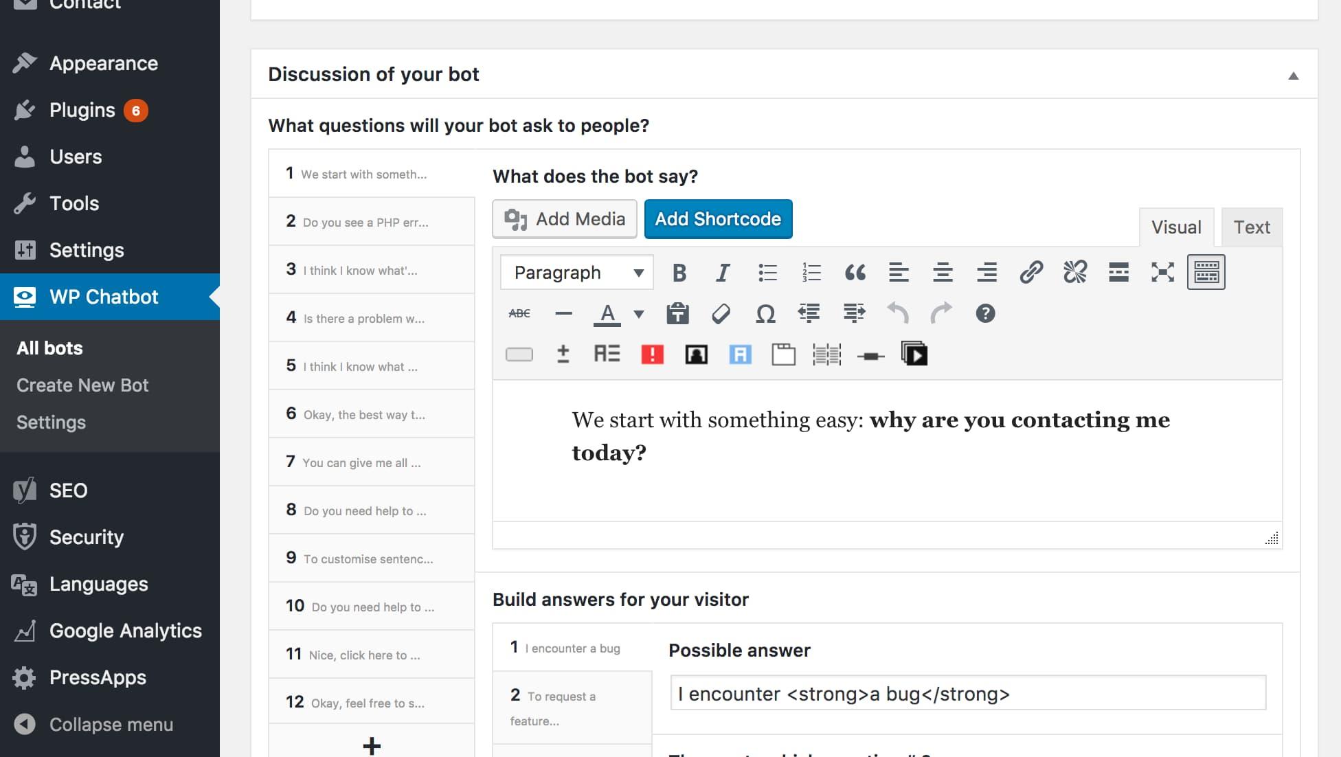 Perguntas no WP Chatbot
