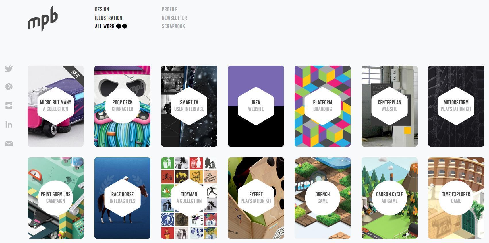 Website de portfólio com uma galeria de miniaturas
