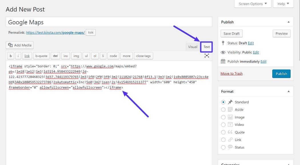Como adicionar o código de incorporação no editor clássico do WordPress