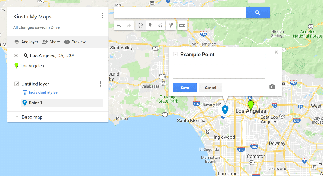 Interface do Google My Maps