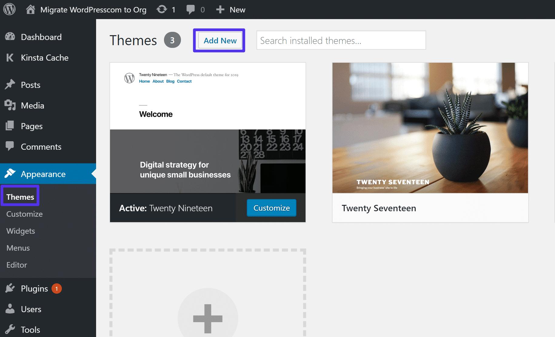 Como instalar um novo tema WordPress