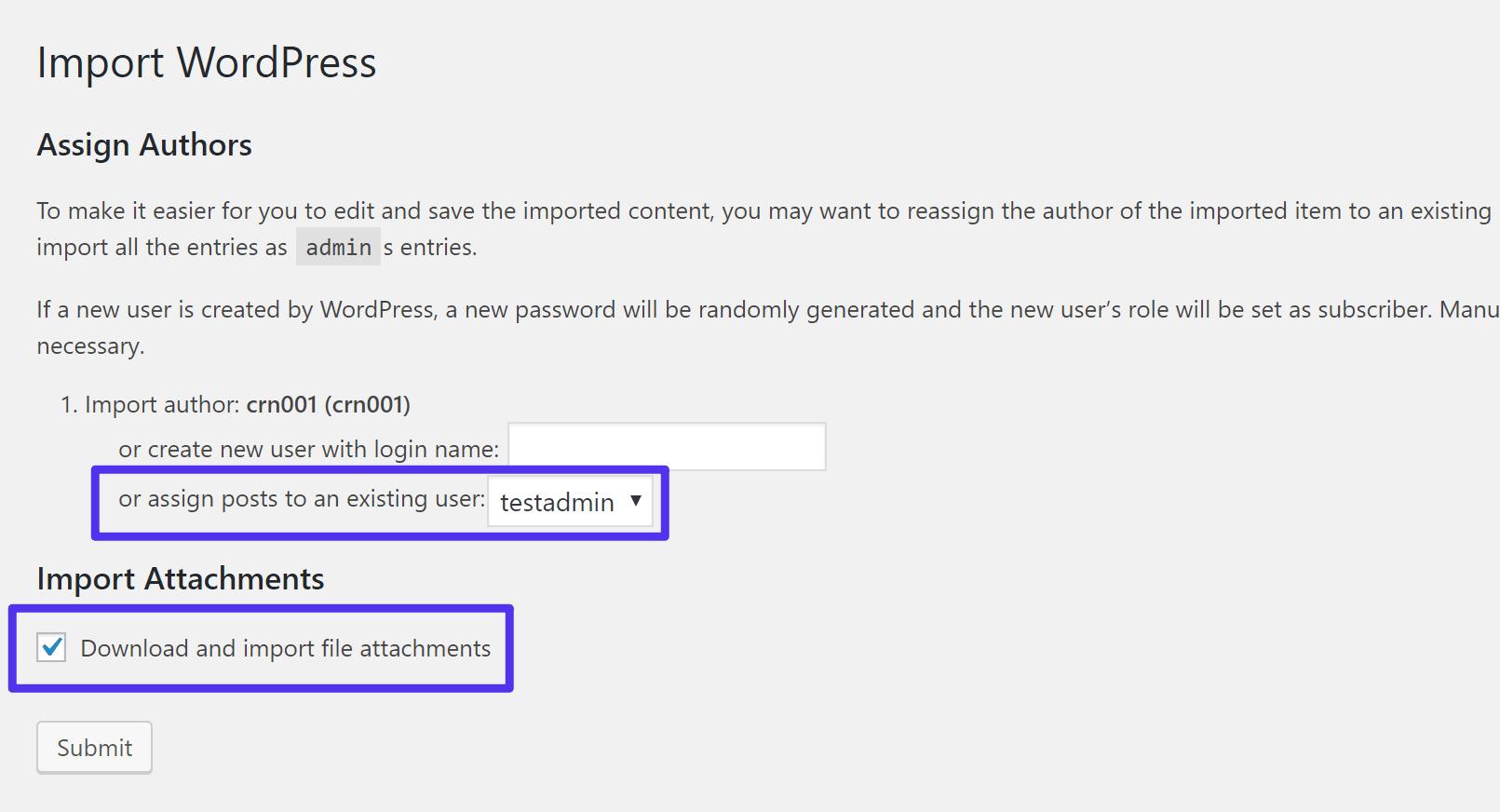 Configure as definições de importação