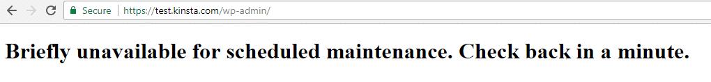 """Exemplo da mensagem """"Momentaneamente indisponível para manutenção programada. Confira novamente em um minuto."""""""