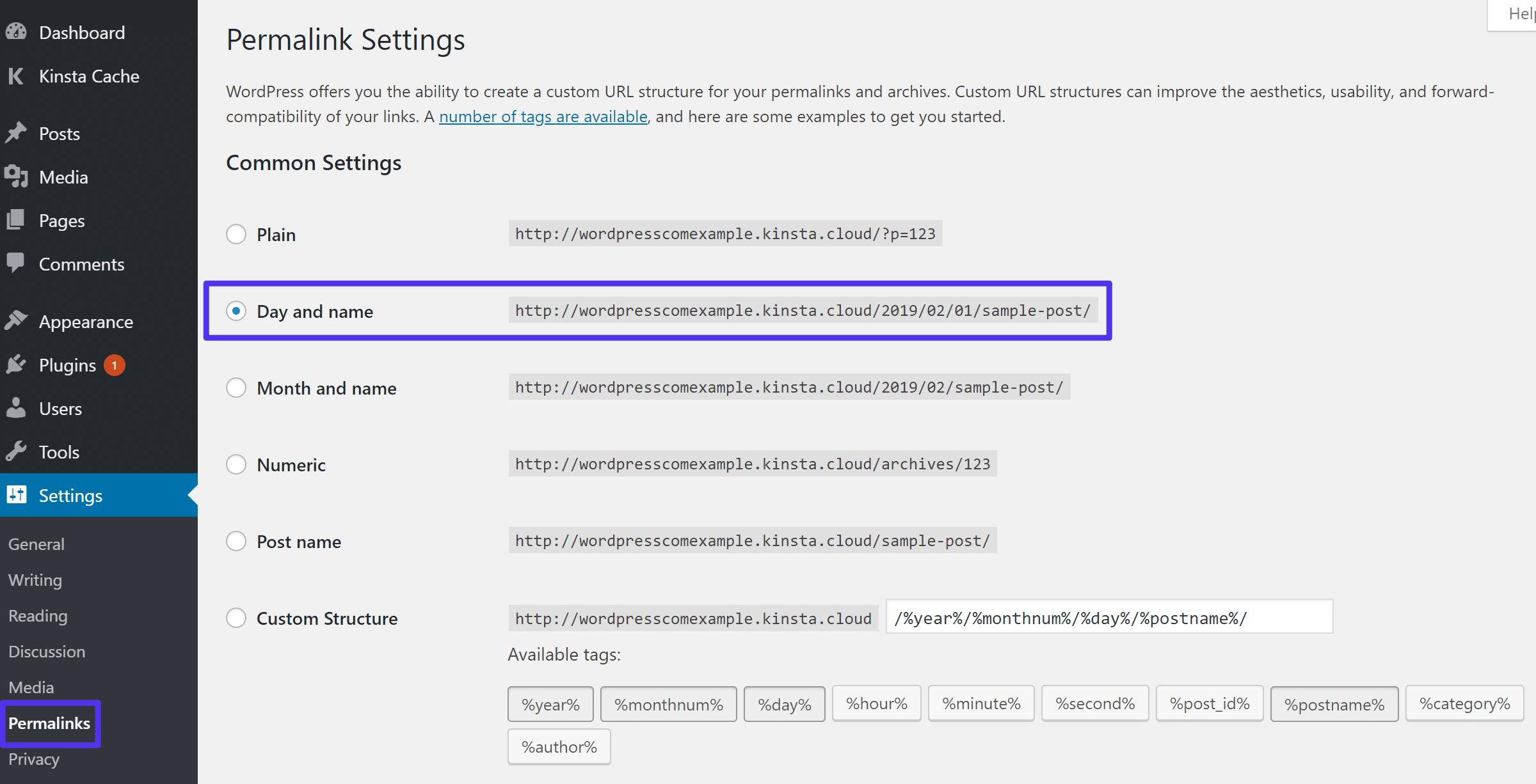 Defina sua estrutura de links permanentes para corresponder ao WordPress.com