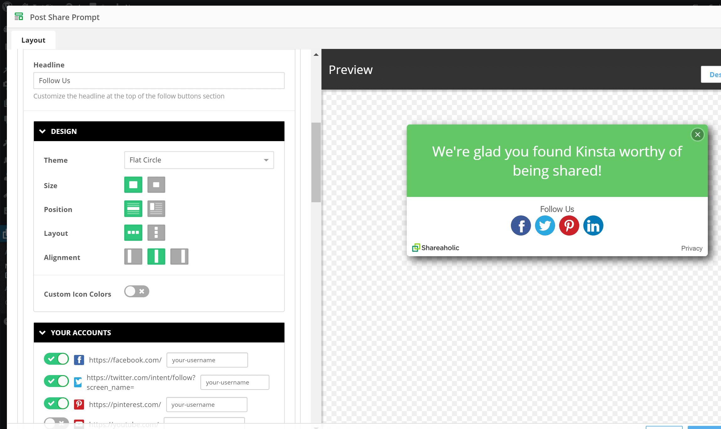 Como adicionar botões de seguimento ao aviso pós-partilha