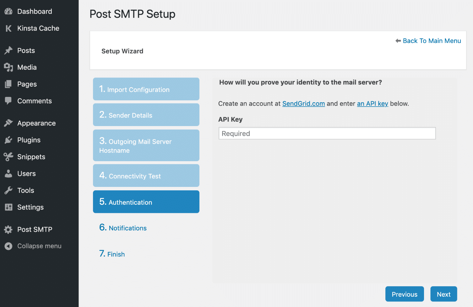 Chave API do SendGrid no Post SMTP