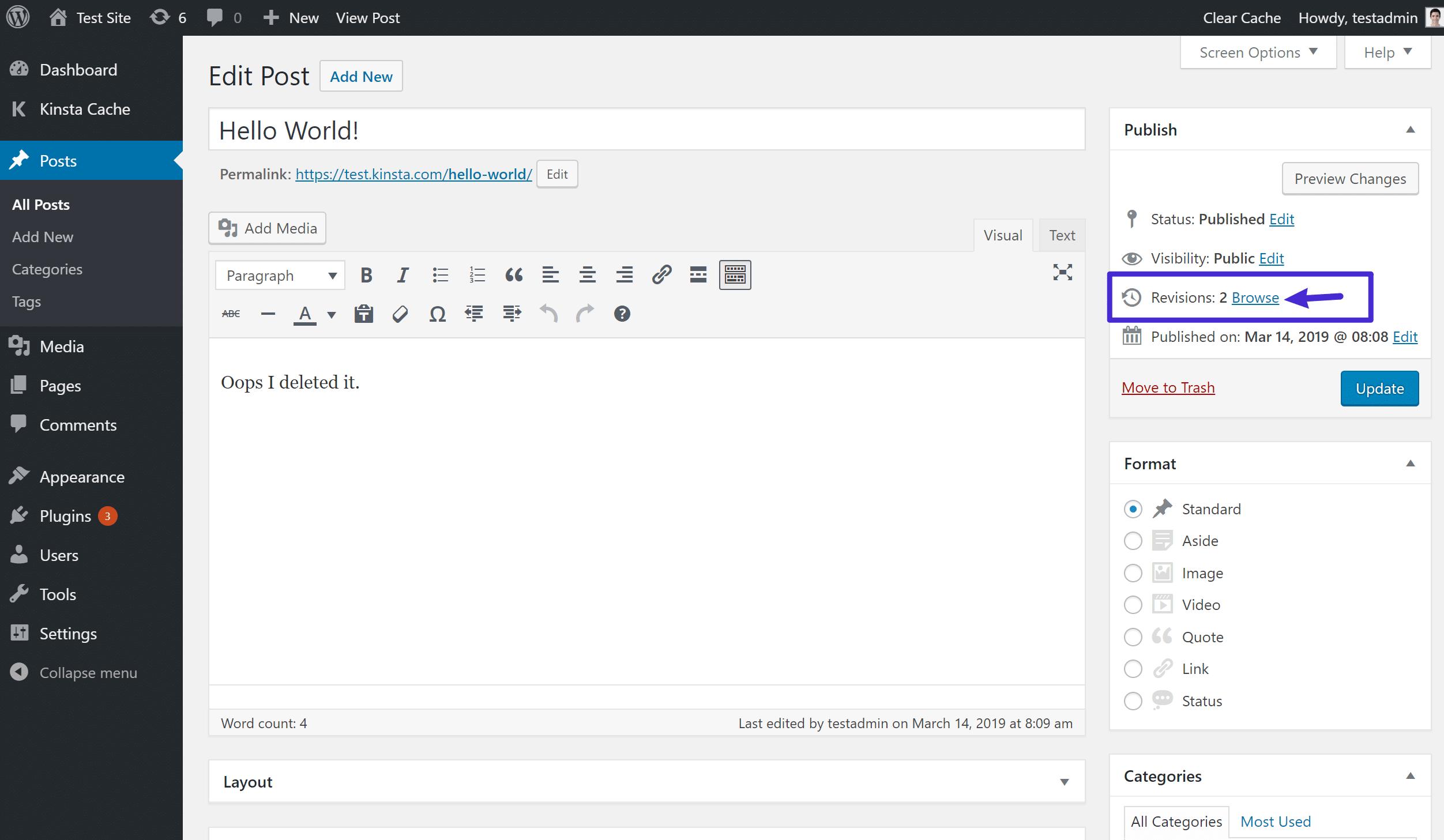 Como acessar as revisões no editor Clássico