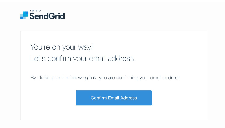 E-mail de confirmação SendGrid