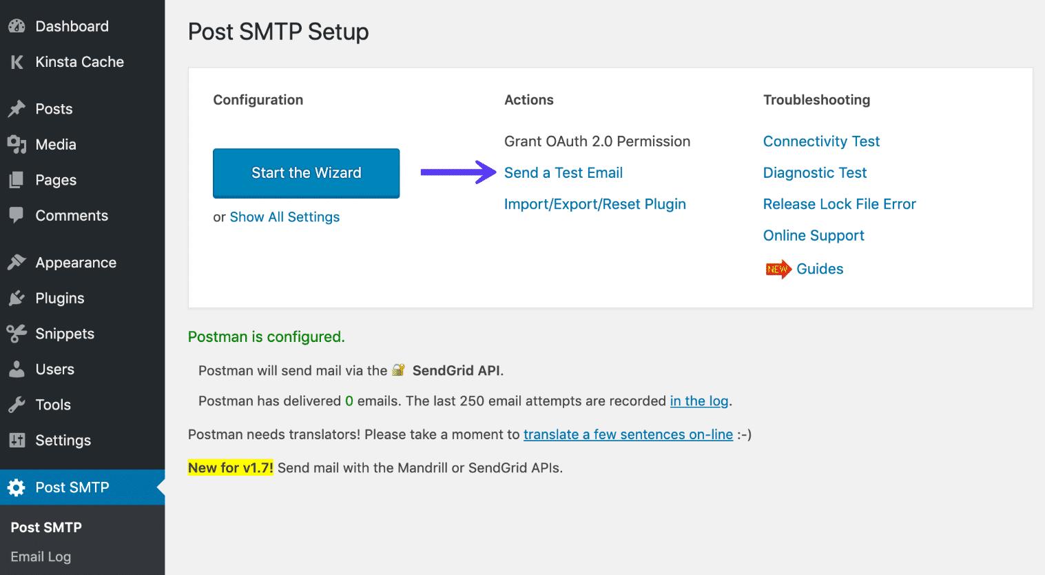 E-mail de teste no Post SMTP