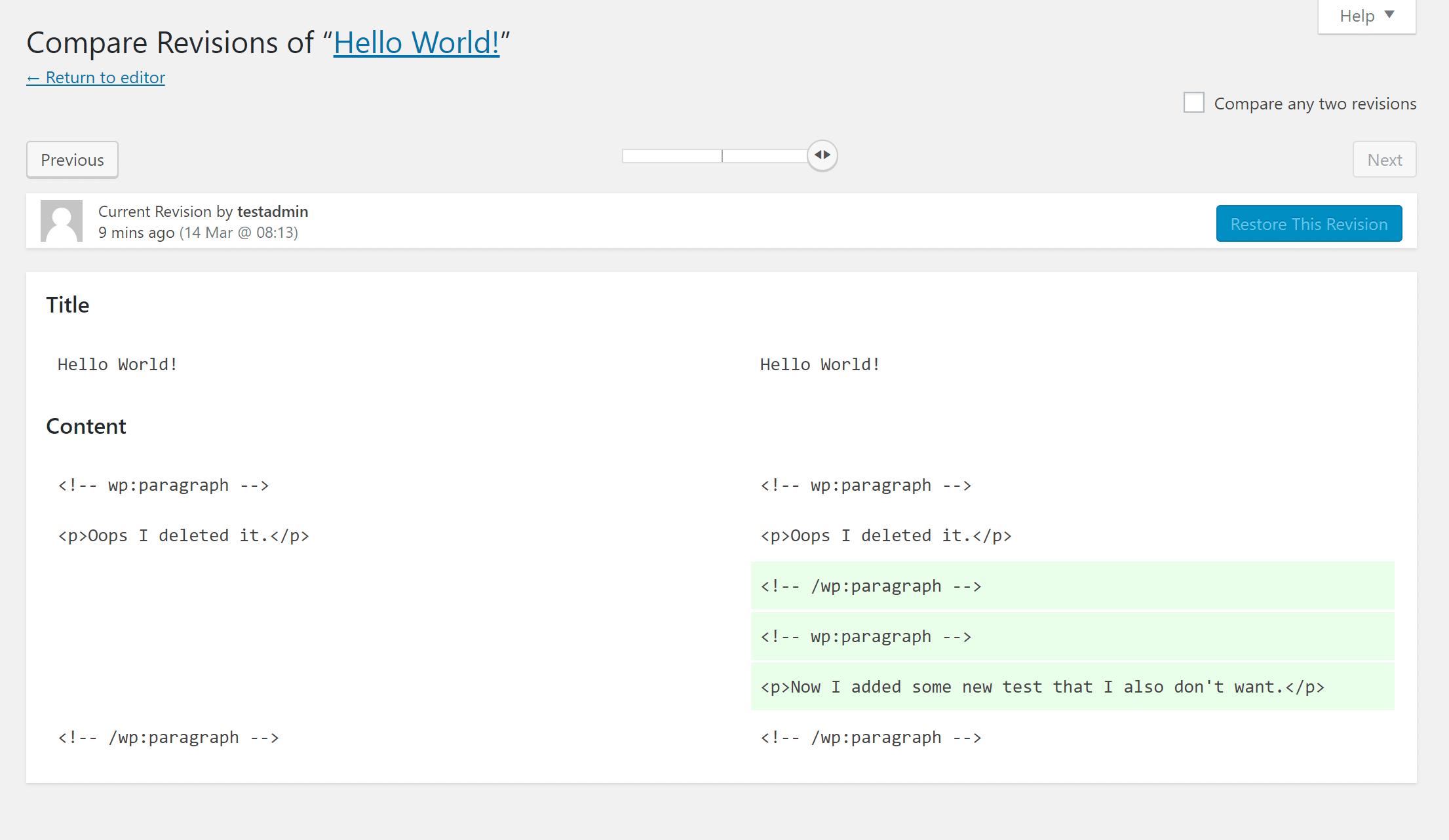 A interface de revisões no WordPress