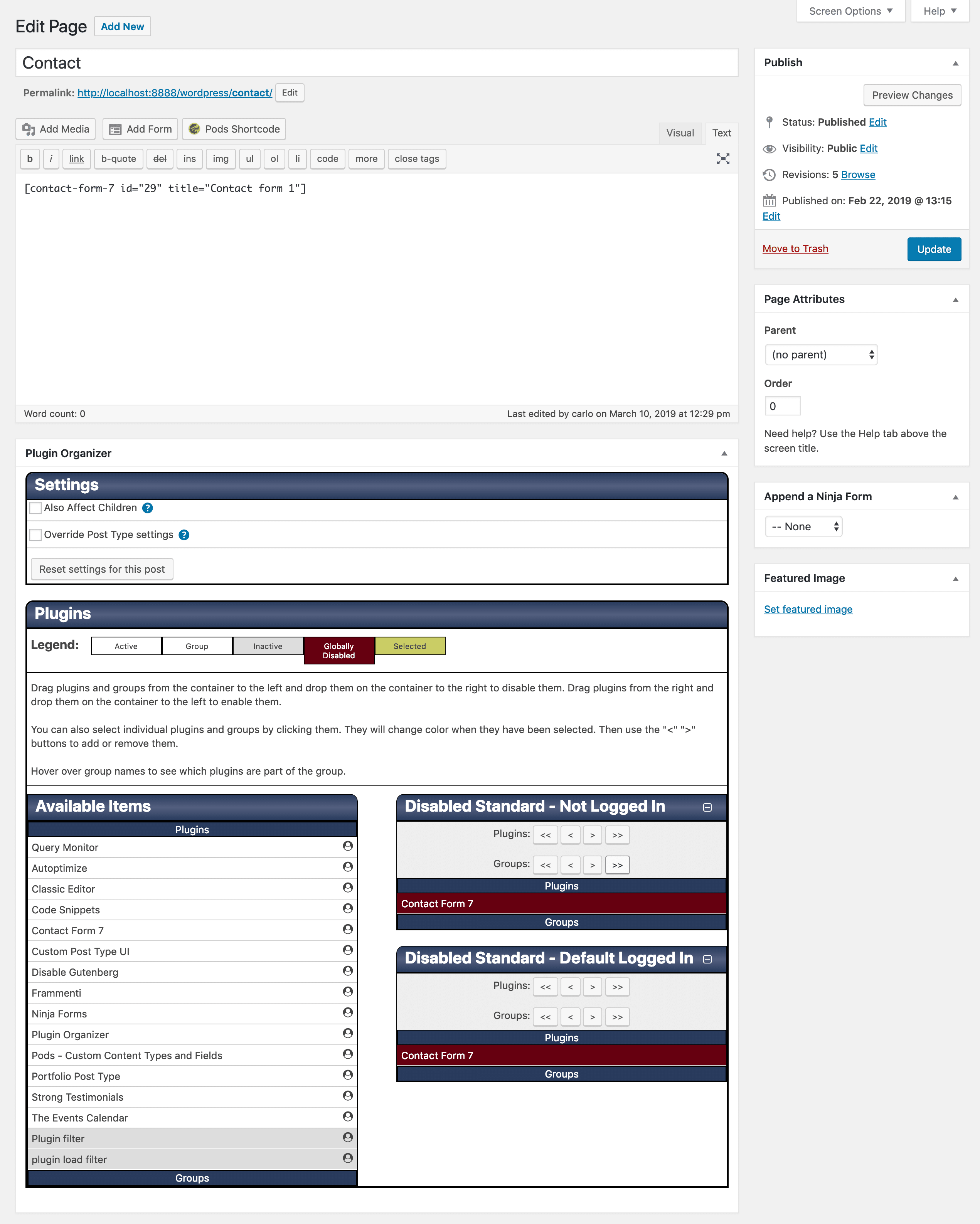 Metabox personalizado do Plugin Organizer na página de contato