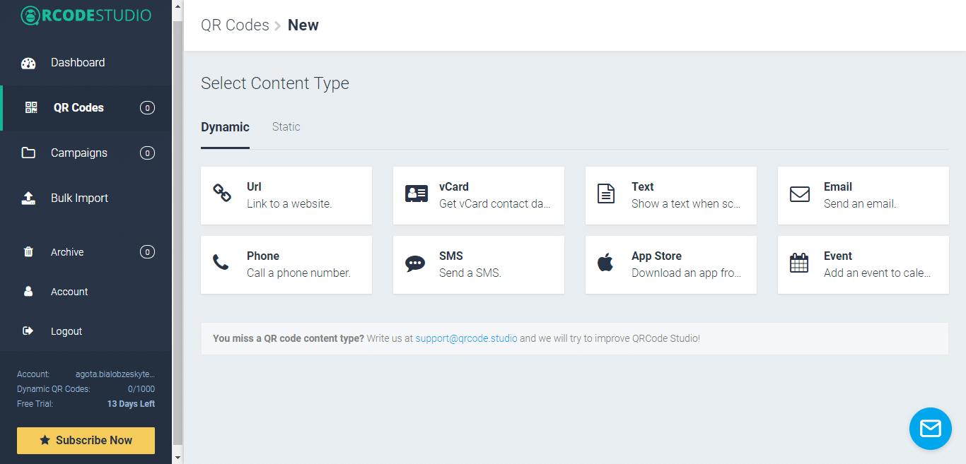 Tipo de conteúdo do código QR