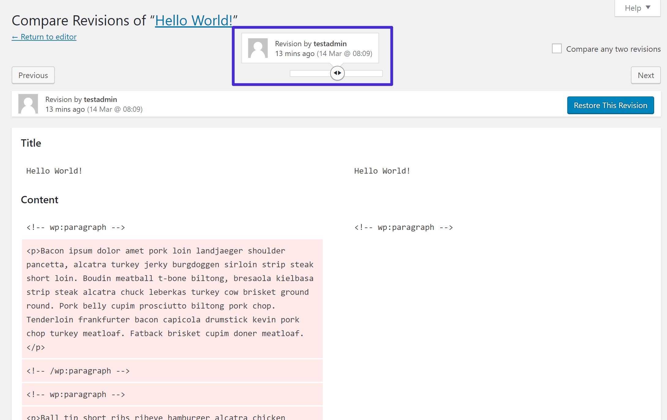 Use a barra de rolagem para alterar qual revisão você está procurando