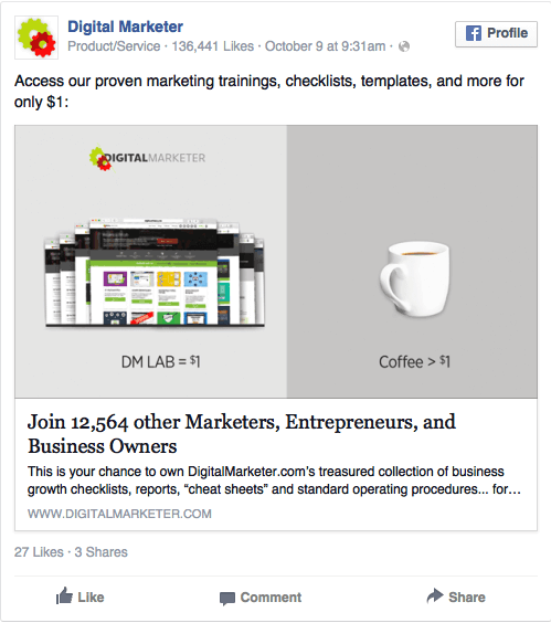Boa oferta anúncio no Facebook