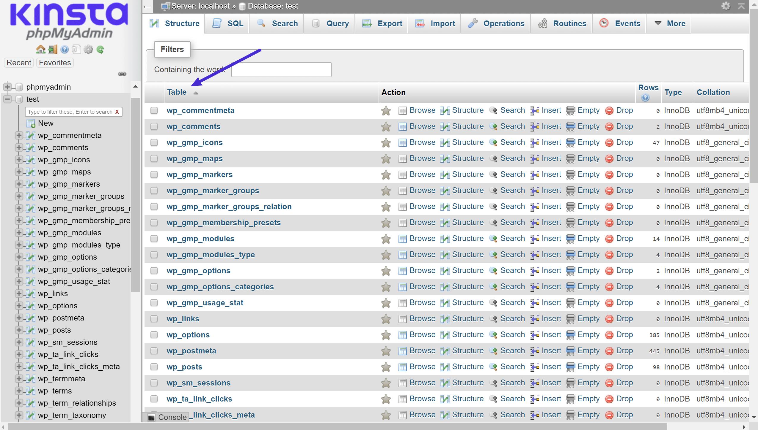 Um exemplo das tabelas diferentes MySQL