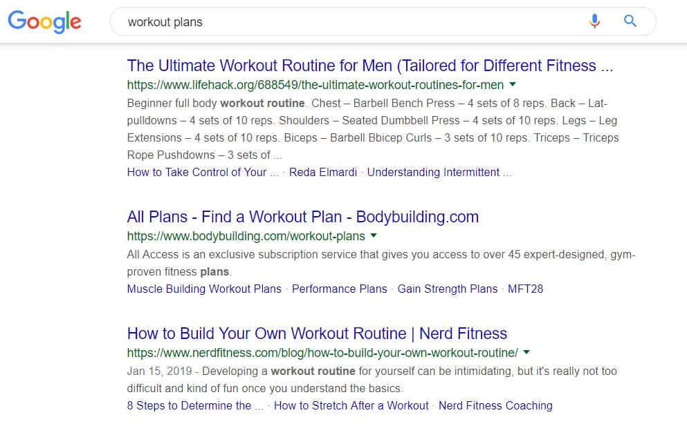 Planos de exercícios na pesquisa do Google