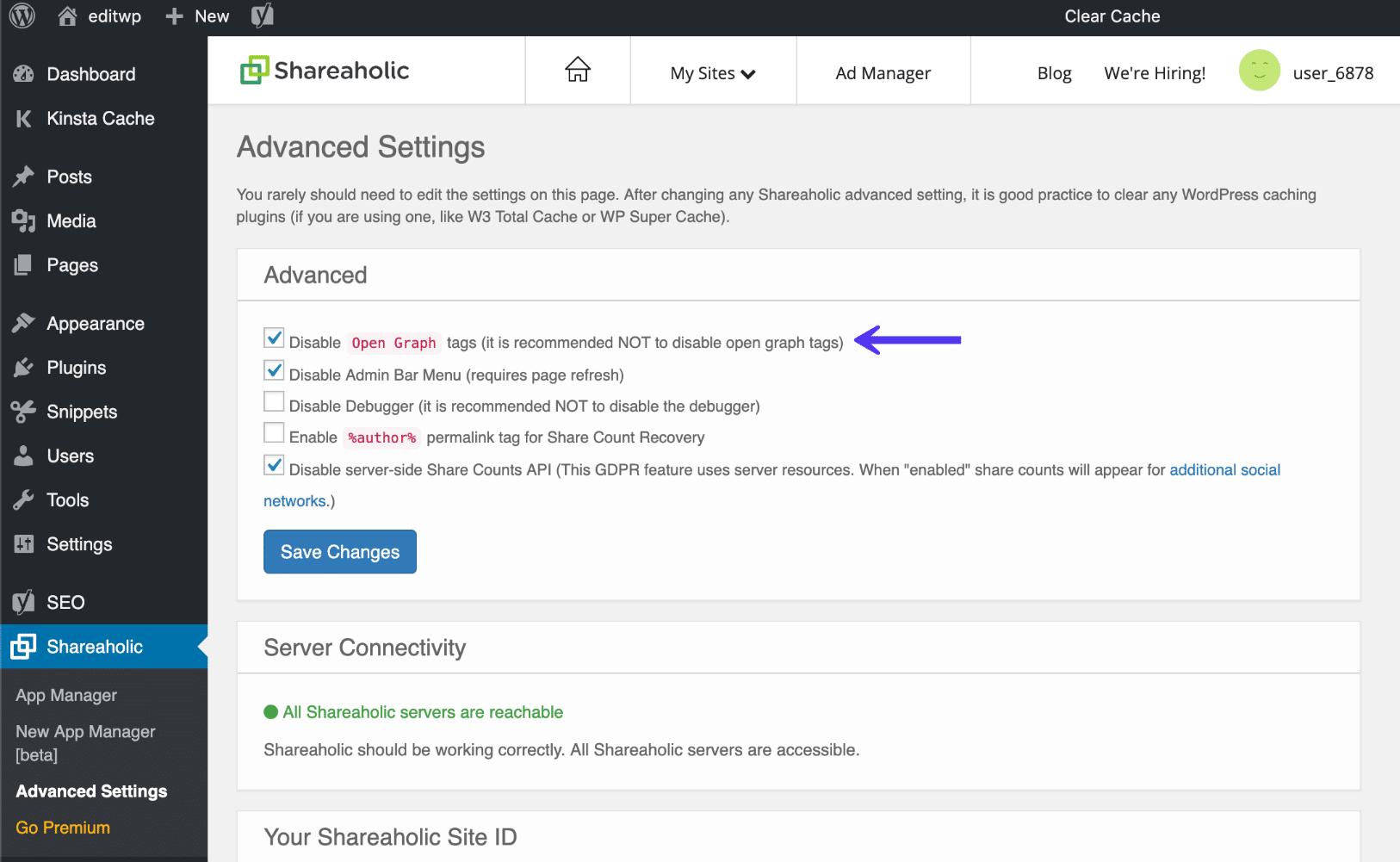 Shareaholic desativar tags de gráfico aberto