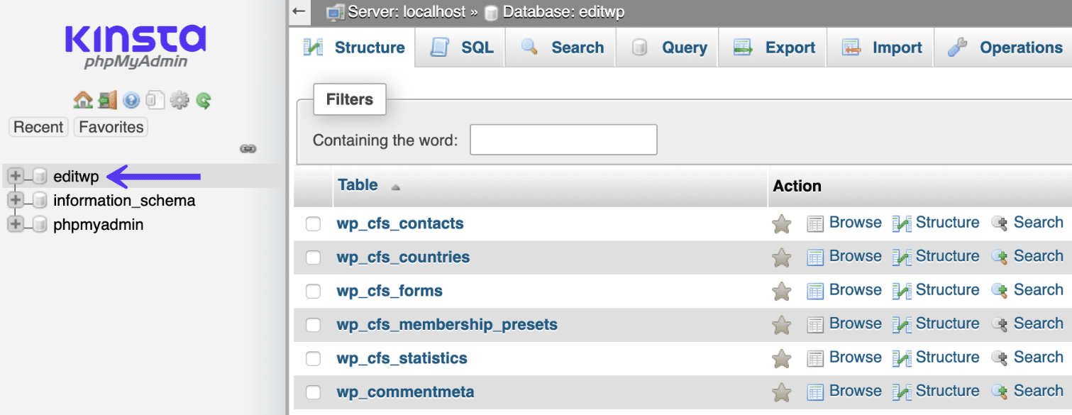 Banco de dados do WordPress no phpMyAdmin