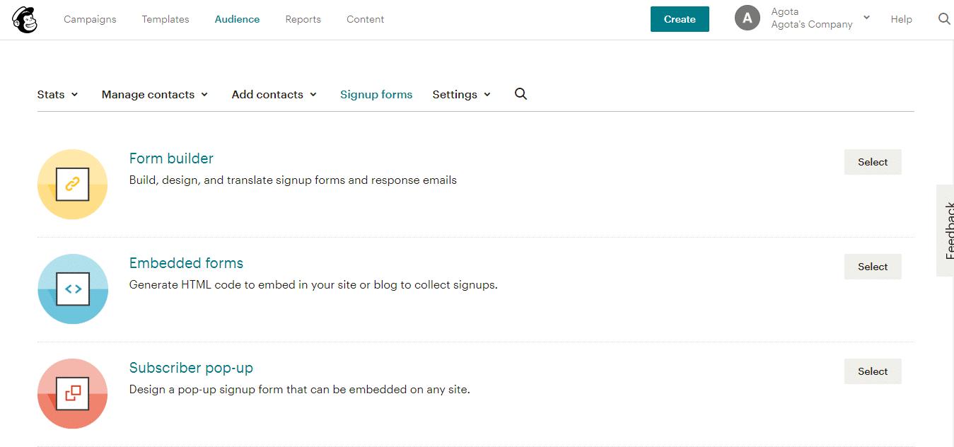 Construtor de formulários do Mailchimp