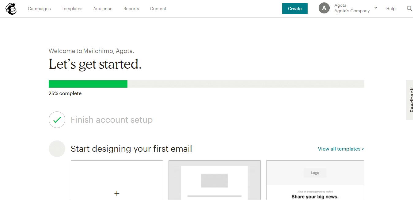 Design do primeiro e-mail no Mailchimp