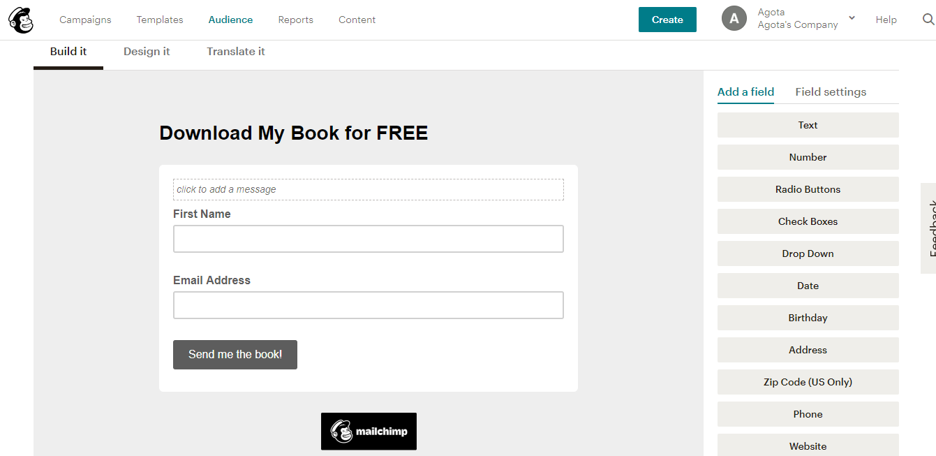 Exemplo de formulário no Mailchimp