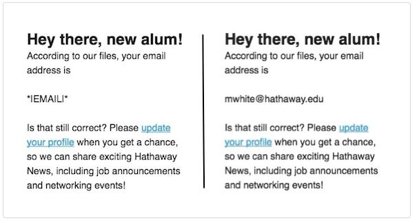 Exemplo de merge tags no Mailchimp