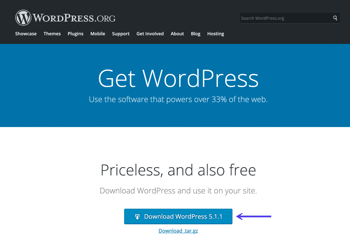 Faça o download da cópia mais recente do WordPress